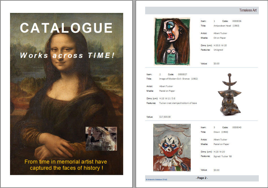 Access Artwork Database - Printed Catalogue pages display