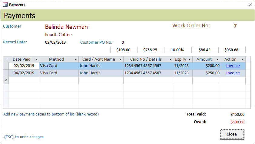 Access Database - Service Call Management Payment Records Form