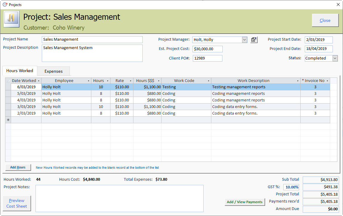 Free Access Database Sample - Time and Billing Project Form