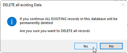 Access Database - Delete sample Data Confirm message box