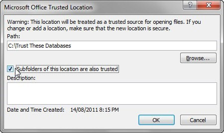 Trusted locations - select a folder